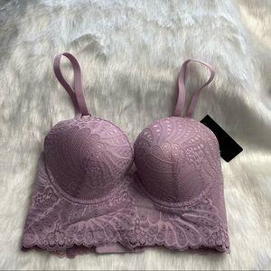 Pink Floral Lace Bra